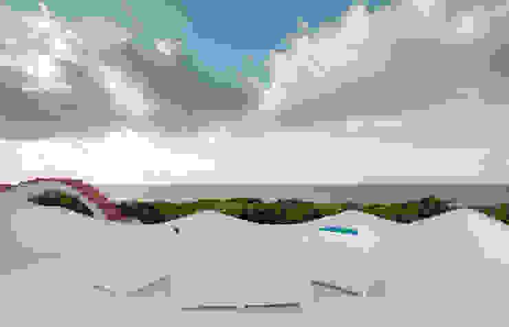 DomECO Mediterranean style balcony, veranda & terrace White