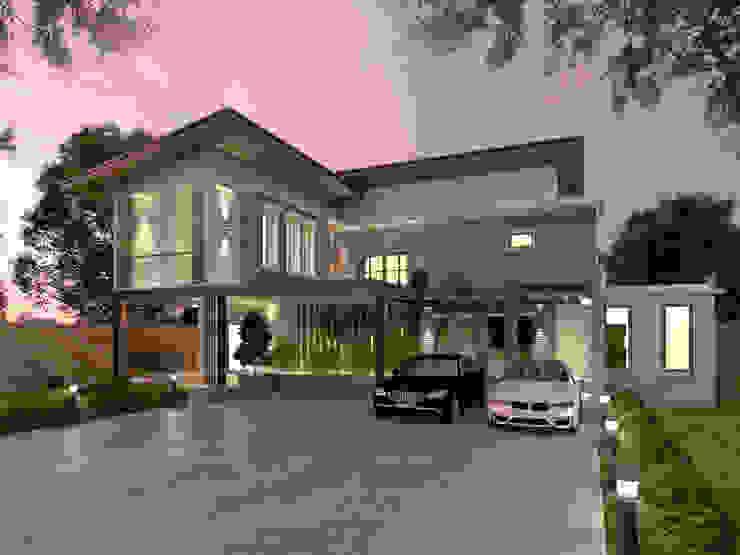 Casas de estilo moderno de บริษัท พี นัมเบอร์วัน ดีไซน์ แอนด์ คอนสตรัคชั่น จำกัด Moderno