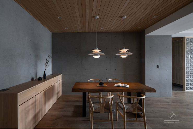 餐廳 極簡室內設計 Simple Design Studio Asian style dining room Wood effect