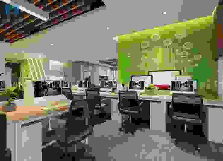 Nội thất văn phòng khá lớn có nhiều không gian cho nhân viên làm việc Phòng học/văn phòng phong cách hiện đại bởi Công ty TNHH Nội Thất Mạnh Hệ Hiện đại