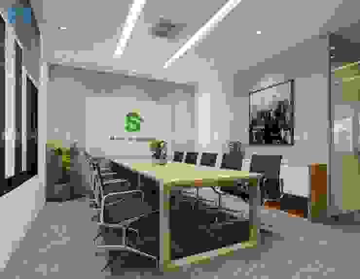 Nội thất phòng họp được thiết kế khá đơn giản, rộng rãi và thoáng đãng Phòng học/văn phòng phong cách hiện đại bởi Công ty TNHH Nội Thất Mạnh Hệ Hiện đại