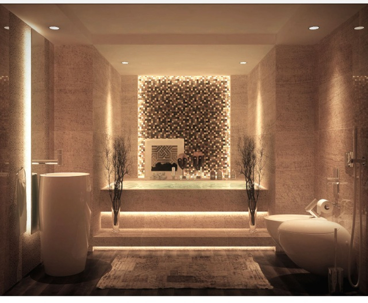 Different ideas for bath room decorations with castle: حديث  تنفيذ كاسل للإستشارات الهندسية وأعمال الديكور في القاهرة, حداثي MDF