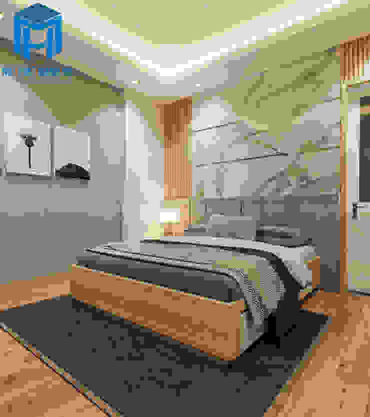 Phòng ngủ Master với gam màu chủ đạo là xám - trắng Phòng ngủ phong cách hiện đại bởi Công ty TNHH Nội Thất Mạnh Hệ Hiện đại