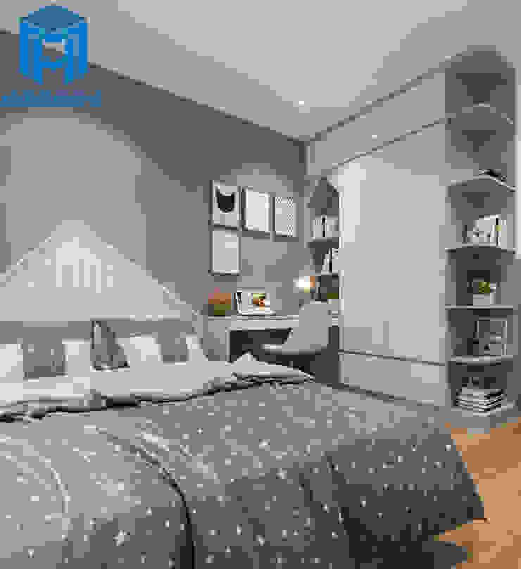 Nội thất phòng ngủ nhỏ cũng giống như phòng ngủ master nhưng có khác một chút là ở tủ đựng quần áo có diện tích nhỏ hơn nhưng được thiết kế thêm nhiều ngăn nhỏ để chứa sách Phòng ngủ phong cách hiện đại bởi Công ty TNHH Nội Thất Mạnh Hệ Hiện đại