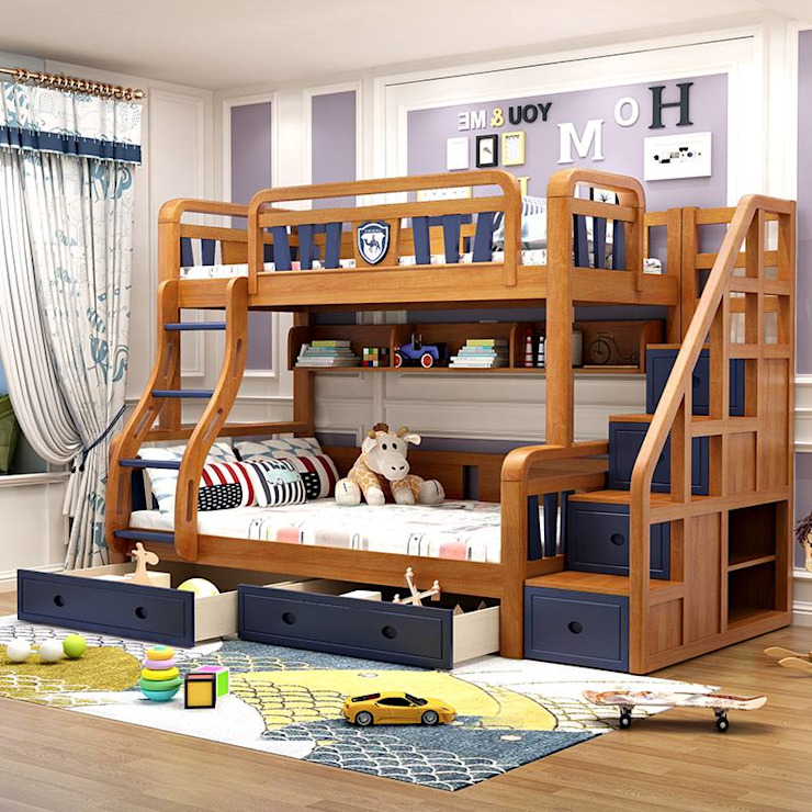 Giường 2 tầng gỗ sồi đẹp GTE051 bởi Xưởng nội thất Thanh Hải
