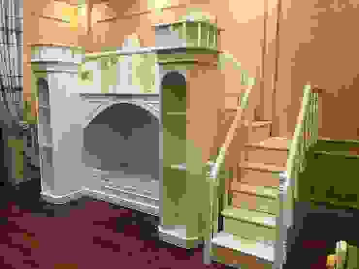 Giường tầng hình lâu đài cho bé màu trắng bởi Xưởng nội thất Thanh Hải