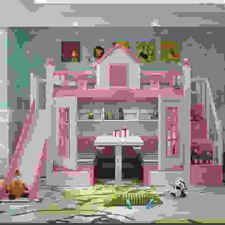 Giường tầng hình ngôi nhà có bàn học gấp GTE033 màu hồng bởi Xưởng nội thất Thanh Hải