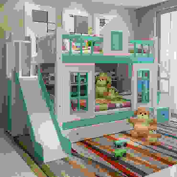 Giường tầng hình ngôi nhà có bàn học gấp GTE033 màu xanh có cầu trượt bởi Xưởng nội thất Thanh Hải