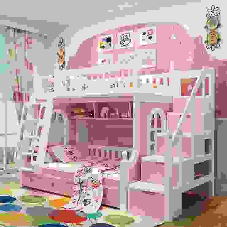 Giường tầng công chúa màu hồng nhạt GTE046 bởi Xưởng nội thất Thanh Hải