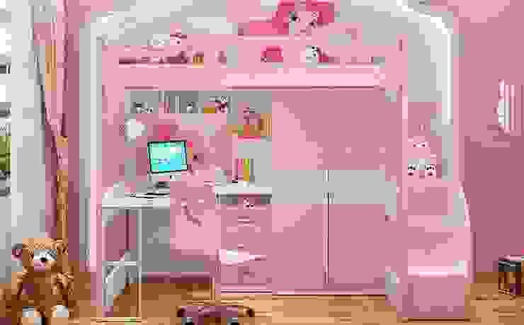 Giường tầng có bàn học + tủ quần áo GTE054 bởi Xưởng nội thất Thanh Hải