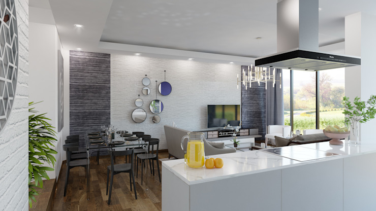 Özel Villa Projesi - Silivri/İSTANBUL Modern Oturma Odası Rengin Mimarlık Modern