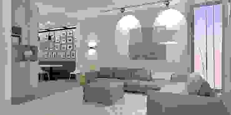 Herindeling woonkamer, eetkamer, keuken en hal van Stefania Rastellino interior design