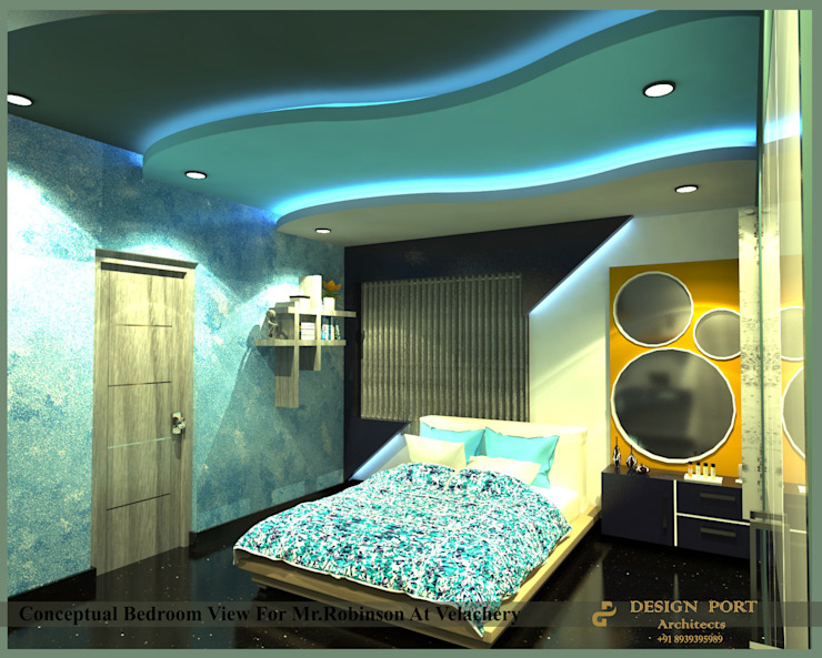 Bedroom 2 Design port Modern style bedroom Wood Blue