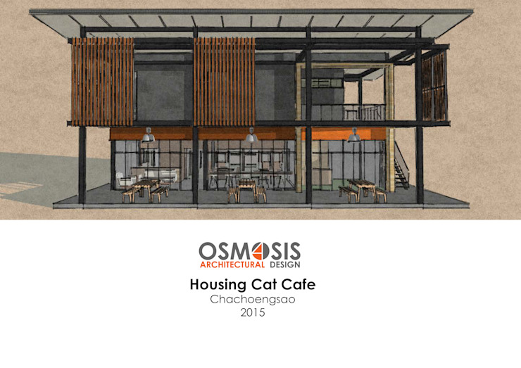 Housing Cat Cafe โดย OSMOSIS Architectural Design อินดัสเตรียล เหล็ก