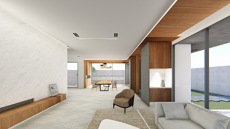 客廳望向玄關 Modern Corridor, Hallway and Staircase by 尋樸建築師事務所 Modern