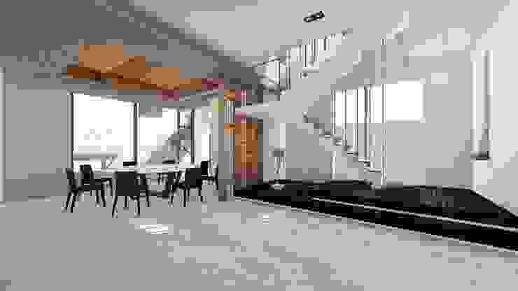 餐廳與主樓梯-1 Modern Dining Room by 尋樸建築師事務所 Modern