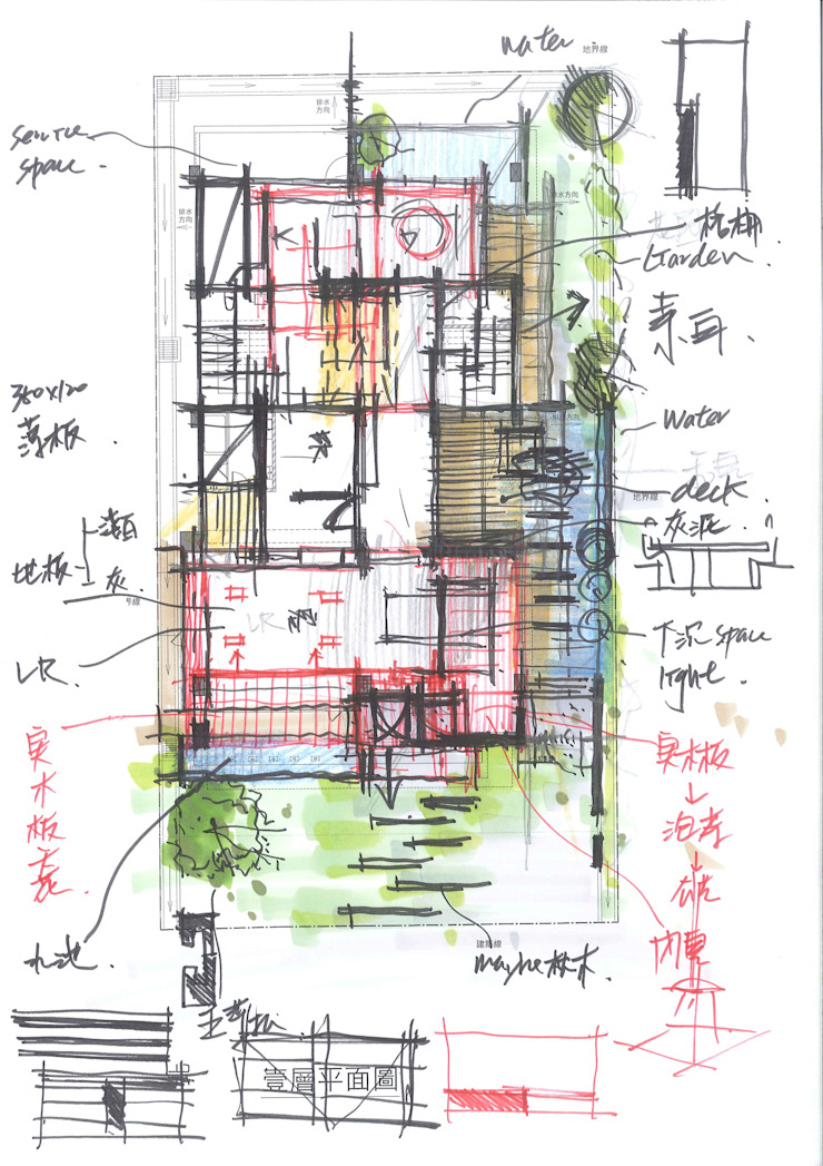 1樓平面手稿 by 尋樸建築師事務所 Modern