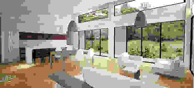 Modern living room by Andrés Hincapíe Arquitectos A H A Modern Concrete