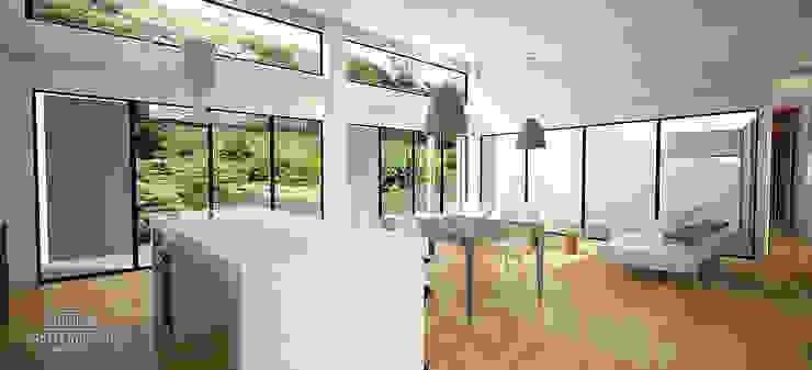 Casa J Salas modernas de Andrés Hincapíe Arquitectos A H A Moderno Madera Acabado en madera