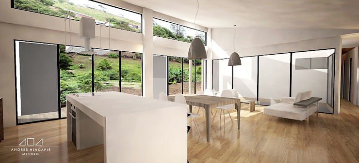 Casa J Andrés Hincapíe Arquitectos A H A Salas modernas Madera Blanco