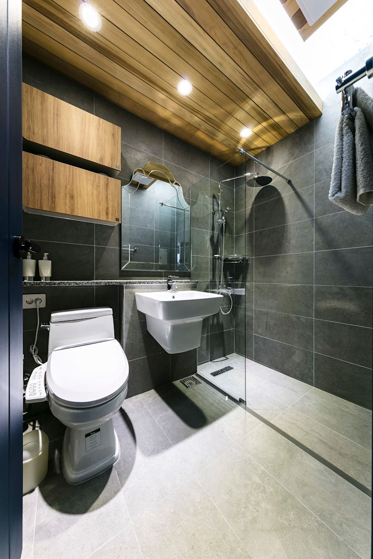 다빈710 Scandinavian style bathroom Tiles Grey