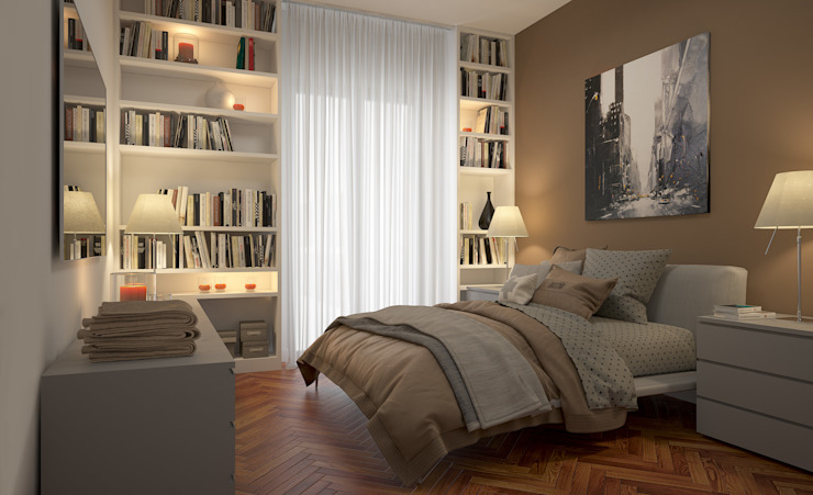 CAMERE - Render fotorealistici d'interni: Camera da letto in stile  di Insighters Computer Graphics, Moderno