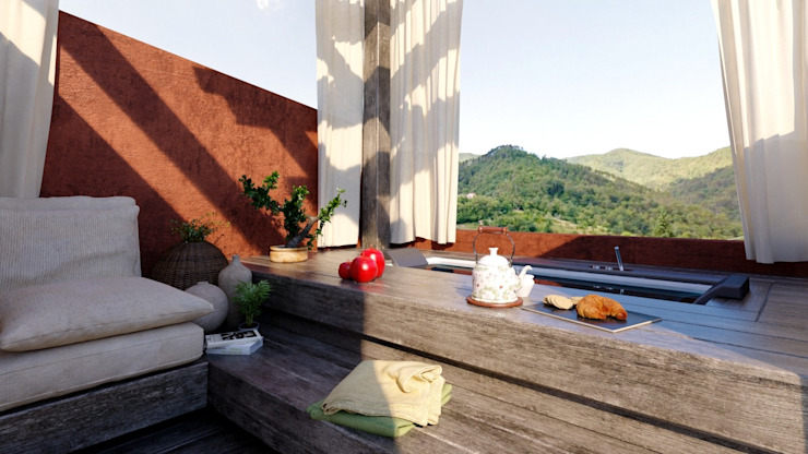 Ing. Massimiliano Lusetti Country style balcony, porch & terrace