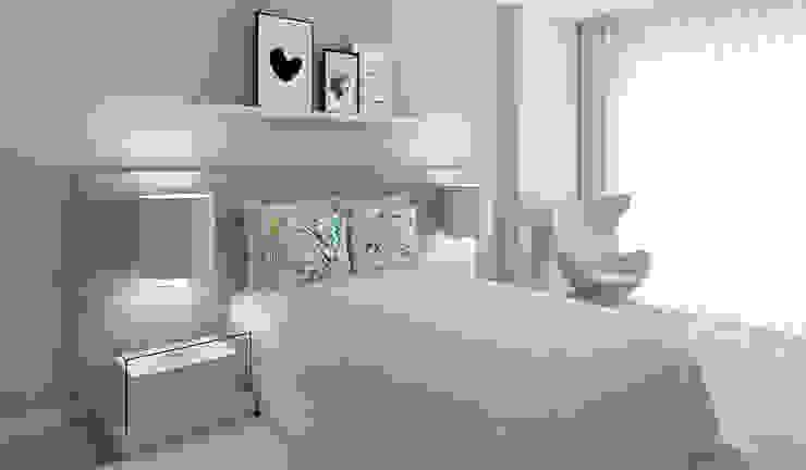 Projeto 3D - Apartamento Montijo: Quartos  por Ana Andrade - Design de Interiores,Moderno