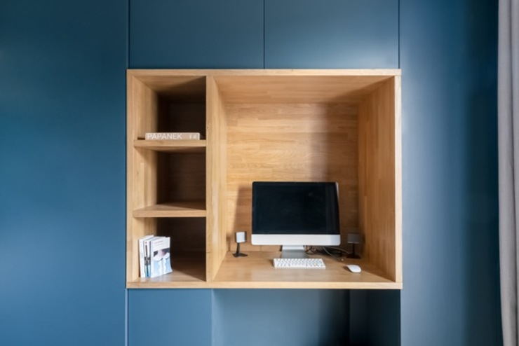 Anne Lapointe Chila Ruang Studi/Kantor Modern Kayu Blue