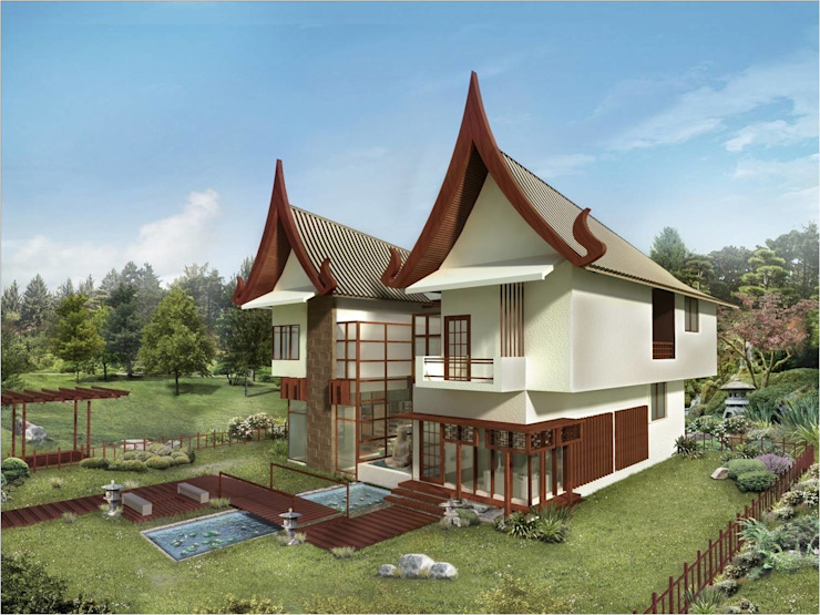 farm house Asian style houses by Vinyaasa Architecture & Design Asian