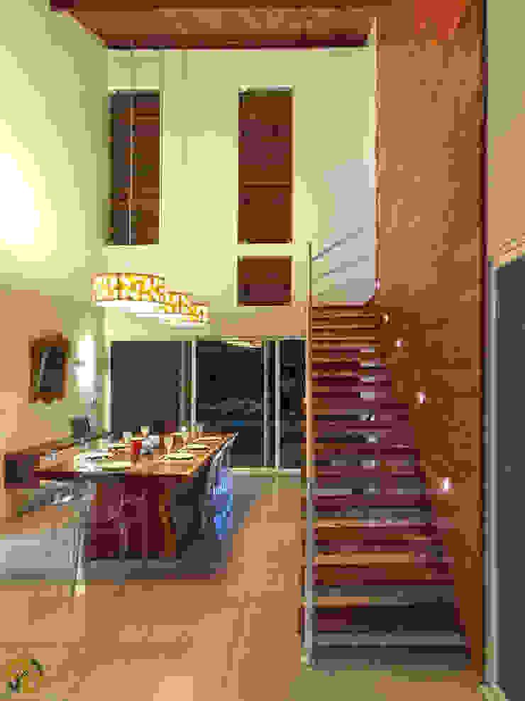 Casa de Campo Salas de jantar modernas por Arquitetura Sônia Beltrão & associados Moderno Madeira Efeito de madeira