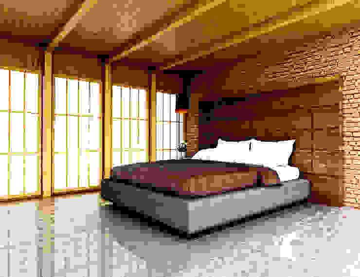 Kamar Bata Jepang Oleh r.studio Industrial Batu Bata