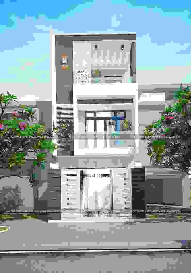 Mẫu thiết kế nhà phố 5x12 bởi Công ty cổ phần tư vấn kiến trúc xây dựng Nam Long Hiện đại