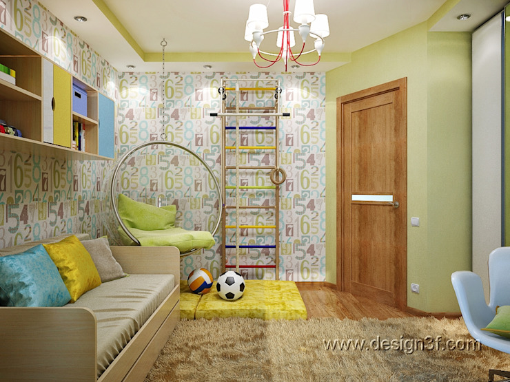 студия Design3F Dormitorios infantiles de estilo ecléctico Amarillo