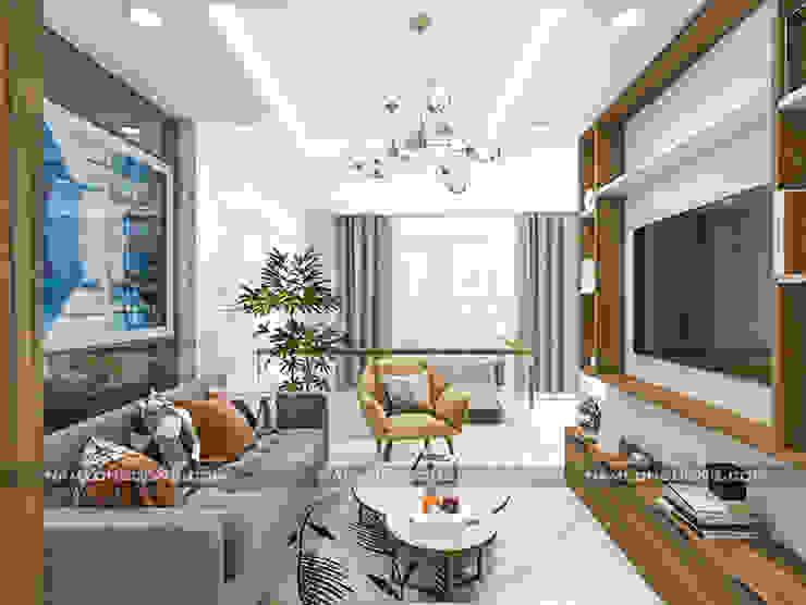 Nội thất nhà ống đẹp hiện đại: hiện đại  by Công ty cổ phần tư vấn kiến trúc xây dựng Nam Long, Hiện đại