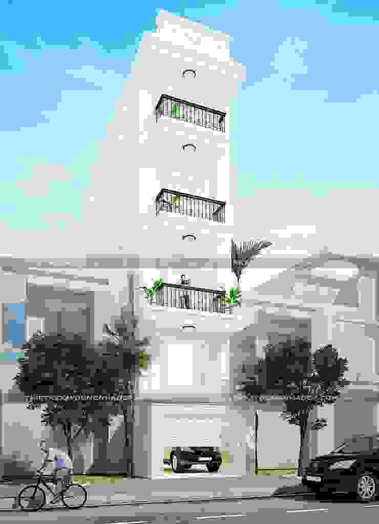 3D mặt tiền nhà đẹp bởi Công ty cổ phần tư vấn kiến trúc xây dựng Nam Long Hiện đại