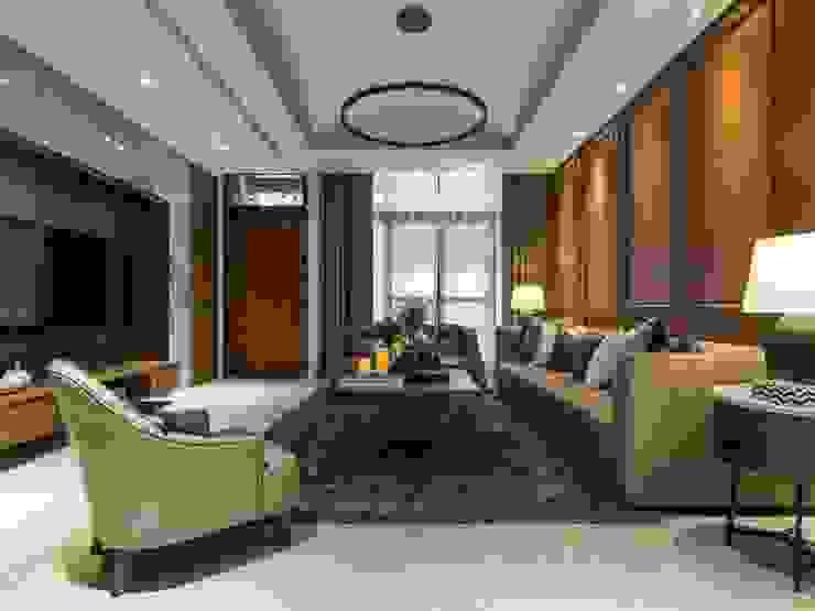 大片的落地窗讓客廳光線充足 根據 湘頡設計 古典風