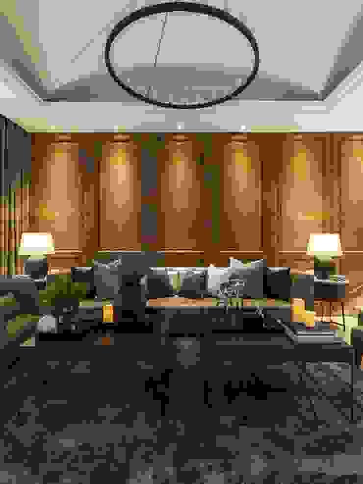 白色天花搭配吊燈,與地毯還有皮沙發呈現視覺上的對比,卻又格外和諧 根據 湘頡設計 古典風