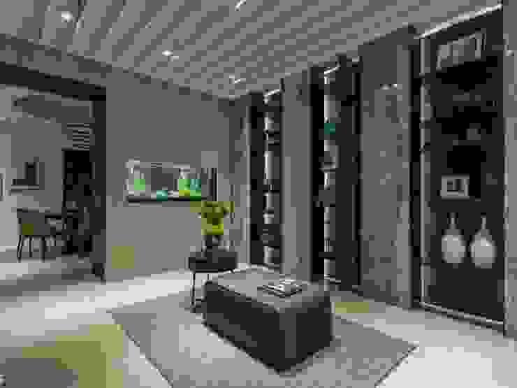 在屏風牆上嵌入水族箱,讓視覺更加活潑生動;放上一張沙發讓人在這駐留也不覺得無聊 經典風格的走廊,走廊和樓梯 根據 湘頡設計 古典風