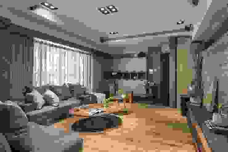 玄關落塵區與客廳地板用不同材質區隔 根據 宸域空間設計有限公司 古典風