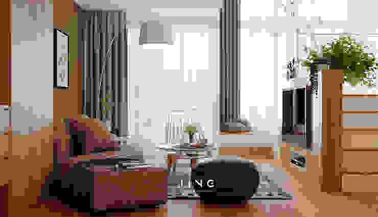 Pingtung 蔡宅 现代客厅設計點子、靈感 & 圖片 根據 景寓空間設計 現代風