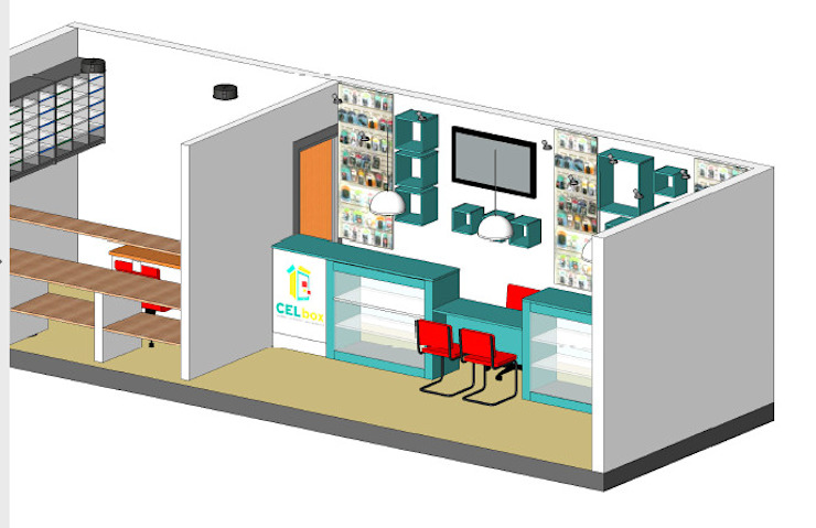 Maqueta y vista de mobiliario y color Estudios y oficinas modernos de Ponce Interiores Moderno