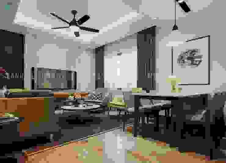 Không gian phòng khách và bếp liền kề với nhau Công ty TNHH Nội Thất Mạnh Hệ Phòng khách Wood effect