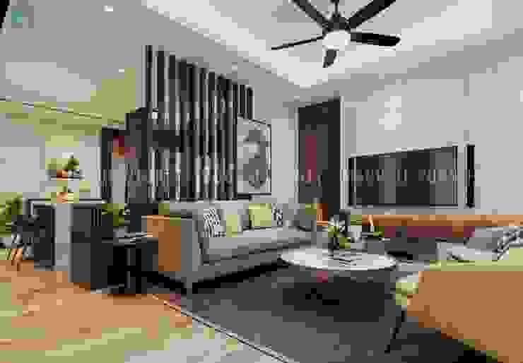 Bộ ghế sofa nệm hình chữ I màu xám khá sang trọng Công ty TNHH Nội Thất Mạnh Hệ Phòng khách Wood effect