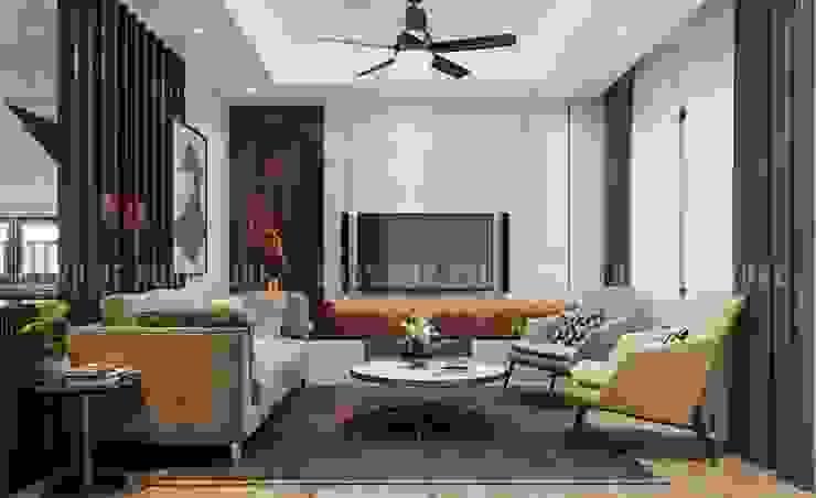 Không gian phòng khách hiện đại và sang trọng với gam màu chủ đạo là trắng - xám Công ty TNHH Nội Thất Mạnh Hệ Phòng khách Wood effect