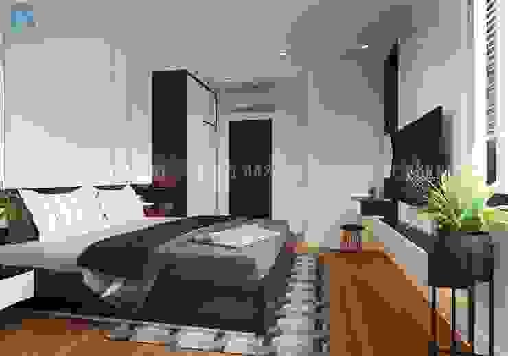 Phòng ngủ master với thiết kế đơn giản nhưng lại mang đến cho gia chủ cảm giác đầy đủ tiện nghi và ấm áp Công ty TNHH Nội Thất Mạnh Hệ Phòng ngủ phong cách hiện đại White