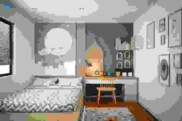 Phòng ngủ nhỏ cho bé được thiết kế khá tinh tế Công ty TNHH Nội Thất Mạnh Hệ Phòng ngủ phong cách hiện đại White