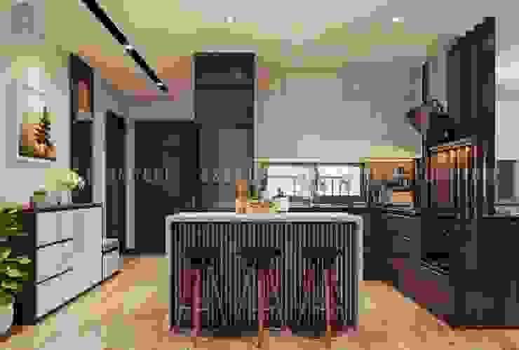 Không gian phòng bếp được thiết kế thêm quầy bar nhỏ rất hiện đại Công ty TNHH Nội Thất Mạnh Hệ Phòng ăn phong cách hiện đại Wood effect