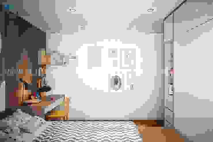 Phòng ngủ nhỏ với vách tường được trang trí khá dễ thương và năng động Công ty TNHH Nội Thất Mạnh Hệ Phòng trẻ em phong cách hiện đại White