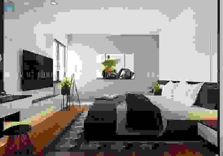 Thiết kế phòng ngủ master khá tinh tế và thoáng đãng Công ty TNHH Nội Thất Mạnh Hệ Phòng ngủ phong cách hiện đại Wood effect